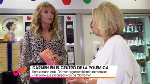 La cara de Emma García el recibir disculpas de Carmen Borrego